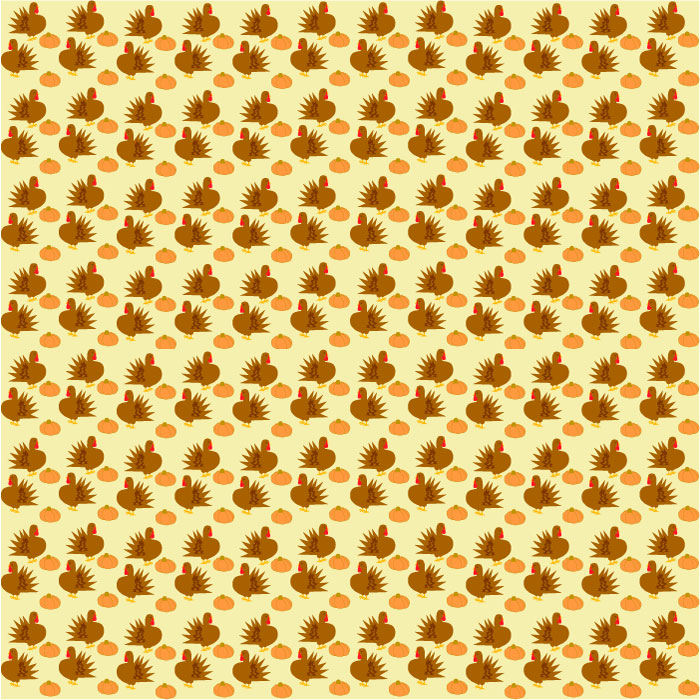 Background graphic, turkeys and pumpkins pattern on cream background