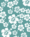 Teal paper with white hibiscus