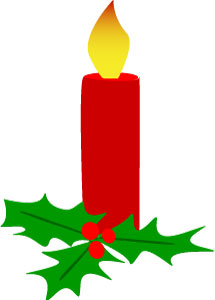 Christmas Holly Red Candle Clip Art
