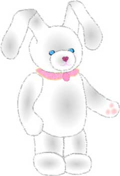 Cute white baby rabbit with pink collar, free bunny clip art for Easter