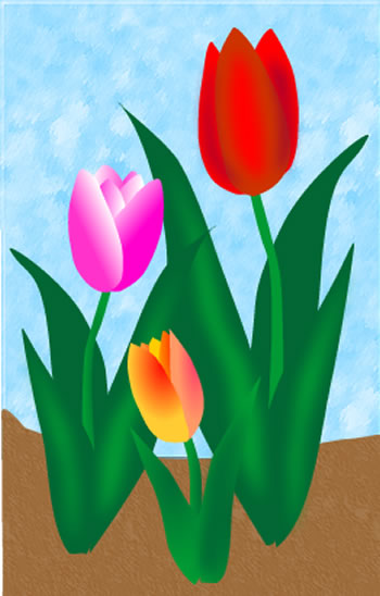 Spring Tulips Clip Art, Easter Flower Garden Scene Graphic