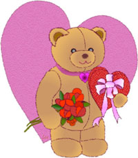 pictures of hearts and flowers. Cute Bear with Hearts and Flowers and box of Candy.