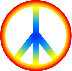 Rainbow Hippie Peace Sign Clip Art, Retro 60s Graphic