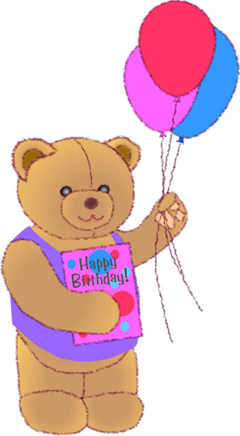 Teddy Bear with Balloons and Birthday Card, Free Party Clip Art Graphic
