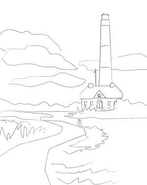 lighthouse sketch adult coloring page printable - Free Sketches To Paint
