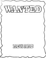 Wanted Poster Template Black And White Printable  Free Printable Wanted Poster