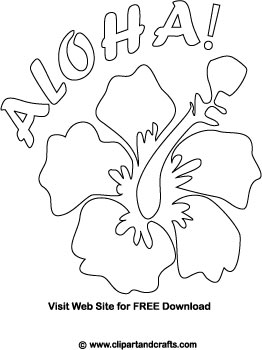 tropical flower coloring page with aloha bubble letters - Tropical Flowers Coloring Pages