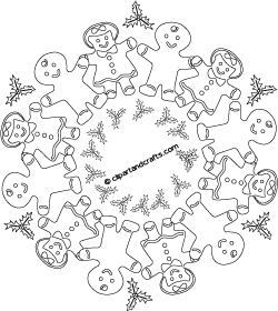 gingerbread men mandala printable coloring sheet gingerbread man kaleidoscopic coloring page for adults or teens
