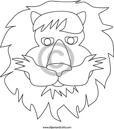 Lion mask template for Lion mask coloring page
