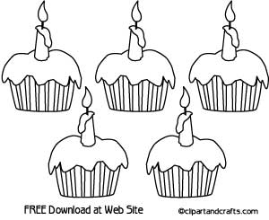 5 Cup Cakes Coloring Page Worksheet