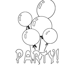 party time coloring sheet balloons - Coloring Pages Party