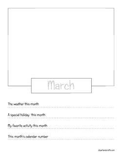 Calendar months creativity activity art sheets for Month of march coloring pages