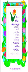 Spring flowers poem bookmark