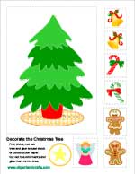 Christmas tree cut and paste activity printable sheet, clipartandcrafts.com