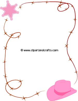 image relating to Printable Cow Hat referred to as Printable Cowgirl Border Paper