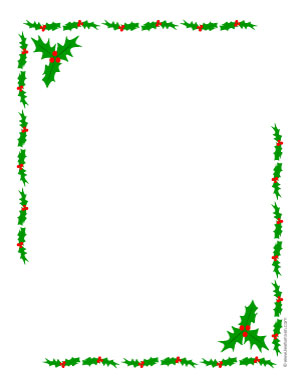 Click link to open a new page to print a holly borders Christmas ...