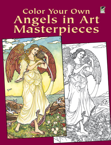Coloring book for adults, angels in art masterpieces