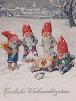 German Elves in Snow vintage  graphic