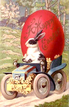 Red Easter egg, vintage clipart