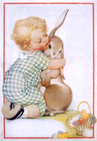 baby hugs bunny vintage easter graphic