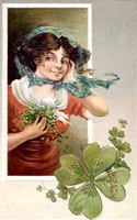 irish girl with shamrocks vintage